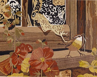 "marquetry art ""cute Wren"", marquetry inlay made in france signed ciamarone"