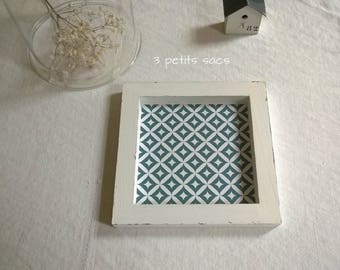 Tray tidy weathered wood, thick sticker, illusion cement tile. vintage