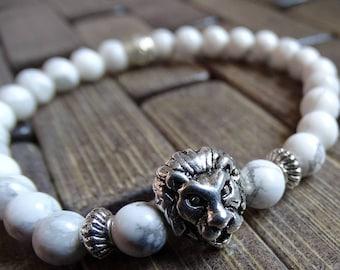 White Howlite Beads Bracelet