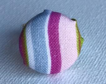 Pink Stripe Fabric Ring