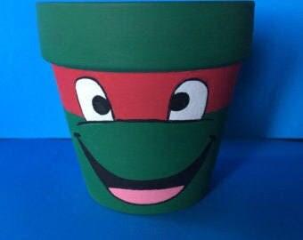 Teenage Muntant Ninja Turtles Raphael Inspired Terra Cotta Pot