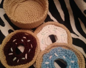 Crocheted Doughnut Coasters with Holder