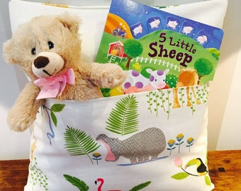 Children's jungle pocket cushion