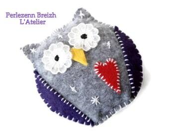 OWL hanging felt grey color and purple handmade