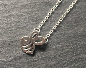 Cute Silver Bee Necklace