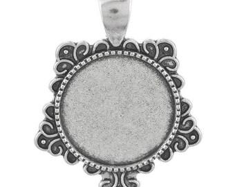 medium silver round cabochon 37 x 28 mm
