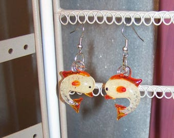 orange lampwork glass Dolphin earrings