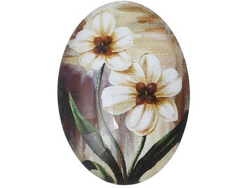 Glass flowers 25 X 18 mm oval cabochon