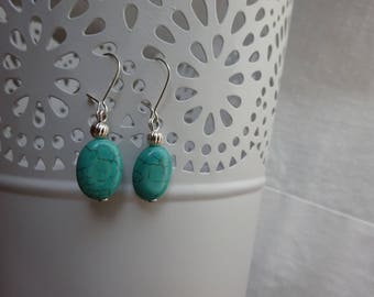 Genuine turquoise and Silver earrings.