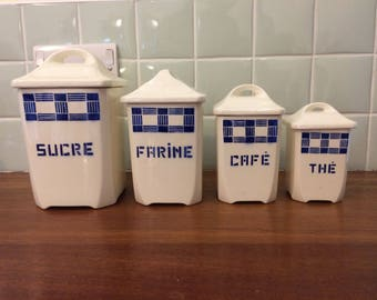 Vintage French 1930s storage jars - Badonviller - very Bauhaus - canisters tea