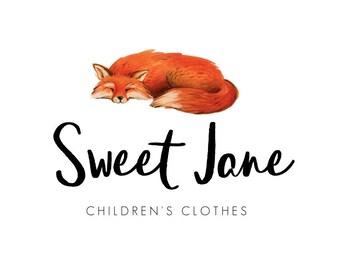 Fox Logo, Baby Shop Logo, Childrens Shop Logo, Watercolor Logos, Premade Logos, Fox Logos, Business Logos, Logo Design, No. 27