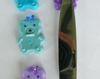 set of 4 Teddy knife holder
