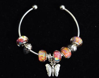 Multicolored glass beads and silver Bangle Bracelet