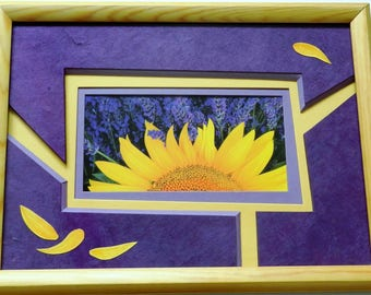 """A map postcard """"sunflower and lavender"""" frame"""
