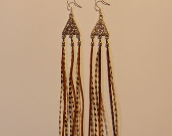 Long earrings 925 sterling silver and natural feathers