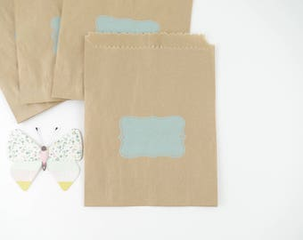Gift (x 10) bags in blue label printed kraft paper bags 12 x 14 cm for favors, baptism, birthday boy