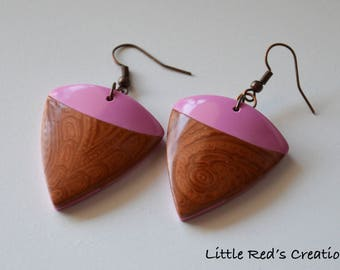 Pink and copper earrings polymer clay