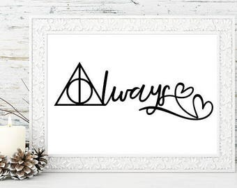 Always Harry Potter PRINT Harry Potter Fan Art, Couples Gift, Wedding gift, Engagement, Anniversary, Birthday - Deathly Hallows - hearts