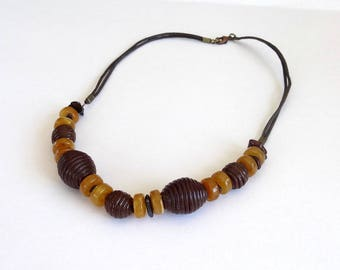 Ethnic Brown and amber beads necklace Bohemian polymer clay