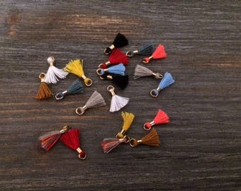 20 mini tassels cotton multicolored 15mm for jewelry designs