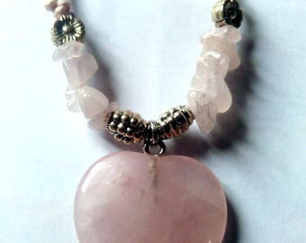 Heart pendant rose quartz mounted on cord with clasp