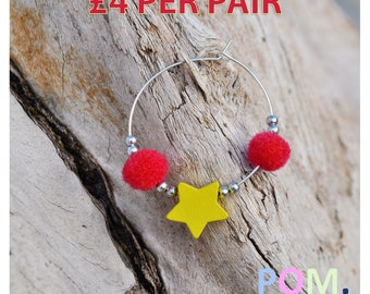 Pom Pom Hoop Earrings  -  Red Pom Poms • Yellow Star • Silver Beads