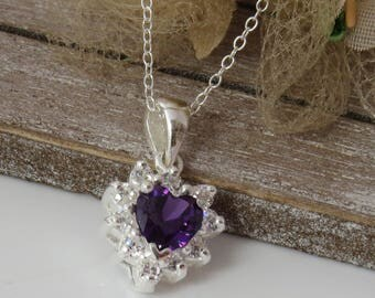 925 Amethyst Pendant, Amethyst Heart Necklace, Amethyst Jewelry, Amethyst Crystal Pendant, February Birthstone Necklace, Gift for Wife