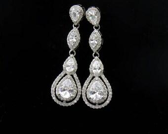 Sterling Silver Cubic Zirconia Bride Earrings, Silver Wedding Earrings, Bridal Earrings, Long Earrings for Brides, White Crystal Earrings
