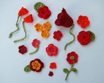 Decorative red and orange crochet flowers