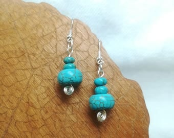 Blue howlite earrings