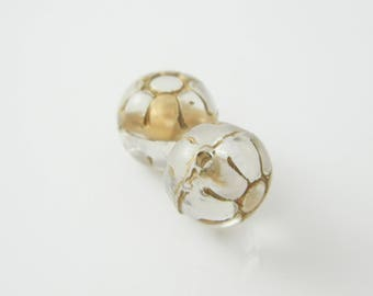 2 x gray round Pearl - Gold 10mm (l252)