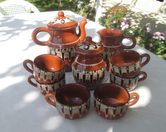 Ceramic coffee or tea set, Bulgarian ceramic set,Vintage hand-made and hand painted ceramic, Bulgarian Troyan Ceramic Folk Art, Home decor