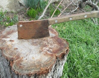 Antique meat knife, Knife Chopper, Old tool for cutting and chopping meat, Vintage meat cleaver, Primitive kitchen tool, Wooden handle