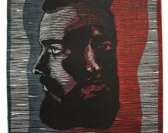 Hesitation, Portrait Woodcut Print