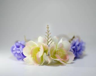 Purple and Cream Flower Crown * Floral Crown * Wedding Headpiece * Photo Prop
