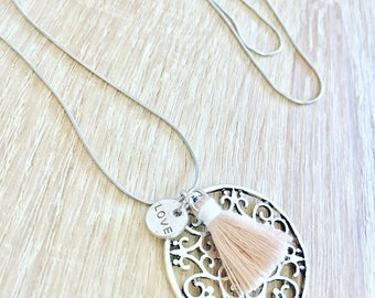 Silver necklace with Medallion MANDALA and pompoms