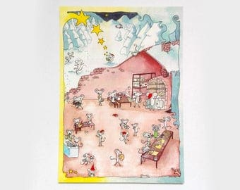 """Postcard """"Mice-Christmas"""" · Postcard· Christmas· Mouse· Cute· Watercolour· Watercolor· Stars· Cookies· Cozy· Yummy· Xmas· Cookies"""