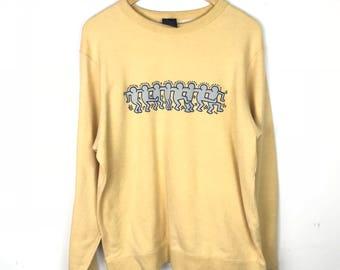 Rare!!! Vintage!!! Keith Haring Sweatshirt Pullover Big Logo Spellout Multicolors Jumper