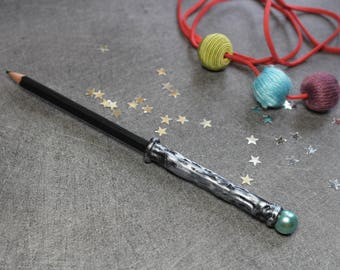 Pencil - black magic wand with blue round bead