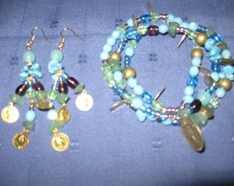 Bohemian set ' Esmeralda' 2 in 1 Convertible necklace elastic bracelet
