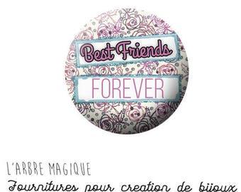 2 cabochons glue best friend friendship Best friends ref 1284 - 18 mm