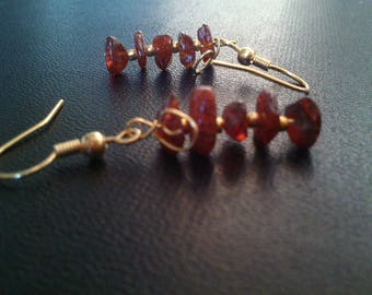 Gold-plated and genuine amber charming and elegant earrings