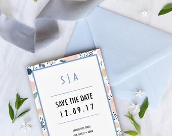Blushing Bride Save the Date Wedding Invitation Template Invites Simplistic Minimal Floral Watercolor Editable PDF Instant Downloadable DI