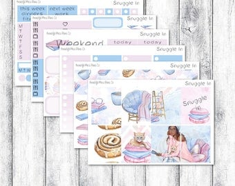 Snuggle In // Erin Condren Vertical // Weekly Sticker Kit