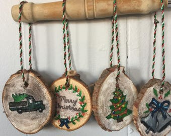 Handmade wood slice Christmas ornaments Handpainted