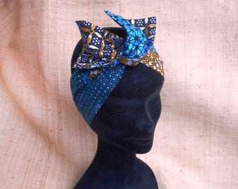 Rigid headband for girls and women, wax, African turban pattern of blue-beige