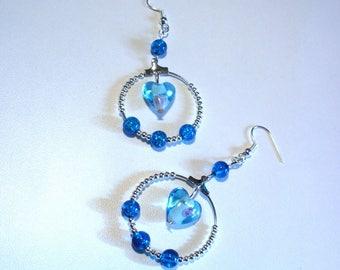 Retro earrings, blue lampwork heart