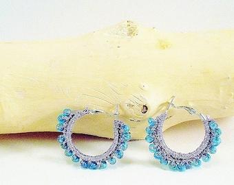 Fabric hoop earrings blue and purple
