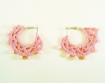 Creole textile beaded pink earrings
