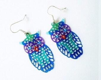 Earrings dangle d ' earrings, filigree, owl, baroque, boho, turquoise blue, purple, hand painted